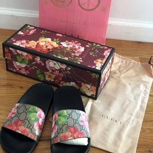 Authentic GUCCI GG Blooms Womens Floral Slides